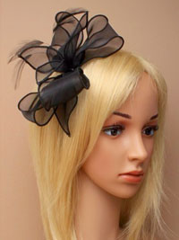 Fascinator / Florence - Black looped chiffon alice.