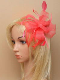 Fascinator / Grace - Coral looped net ribbon on a comb.