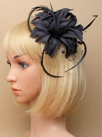 Fascinator / Jasmin - Black fabric flower fascinator.