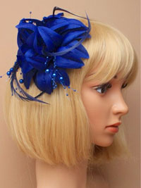 Fascinator / Jasmin - Navy flower with feathers and beads.