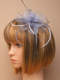 Fascinator / Josie - Silver narrow aliceband with netting.