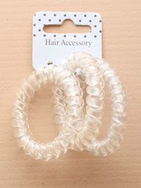 Scrunchie / Telephone cord scrunchie in clear. 3pk