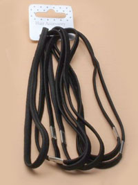 Elastics / Card of 6 long black elastics 5mm wide
