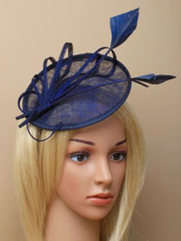 Hatinator / Navy sinamay hatinator with loops and feathers