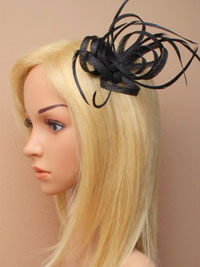 Fascinator / Oriel - Black Looped hessian fascinator.