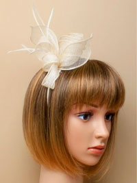 Aliceband / Marie - Ivory coiled and looped fascinator.