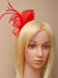 Aliceband / Marie - Red coiled and looped fascinator.