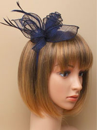 Aliceband / Marie - Navy coiled and looped fascinator.