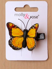 Clip / Coloured butterfly on a black 3cm beak clip.