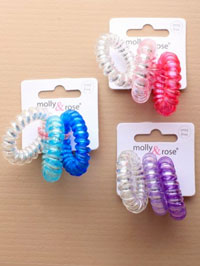 Hair Tie / Telephone cord hair ties with silver inner. 3pk
