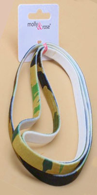 Clearance/Band. 3 pack of 1cm wide camouflage long elastics.