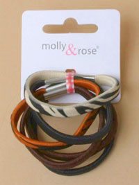 Clearance/6pk Natural brown includes 2 zebra print elastics.