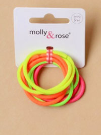 Elastics / 8pk of neon coloured snag free endless elastics.