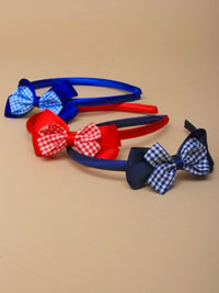 Aliceband / Double gingham bow satin aliceband.