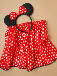 Set / Red tutu with white dots and black ears aliceband