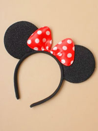 Aliceband / Mouse ears with satin bow on an aliceband