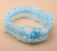 Garter / Blue lace garter with ribbon bow.