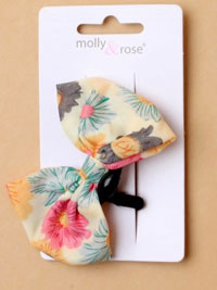Elastic / Card of 1 Floral fabric bow elastic.