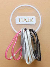 Elastics / Card of 8 Assorted metallic striped elastics.