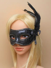 Mask / Black Sequin and feather detail mask