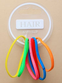 Elastics / Card of 6 Anti slip bright coloured elastics.