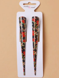 Clips / Pair of 13cm Black beak clips with floral print.