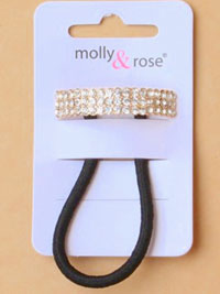 Elastics / Elastic with Diamante crystal ponytail cover.