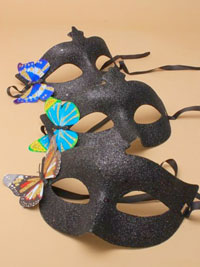 Mask / Black glitter mask with butterfly motif.