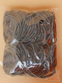 Elastics / 100 piece bag of black thick endless elastics.