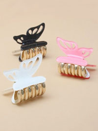 Clamp / 3.5cm small glitter butterfly clamp with gold teeth.