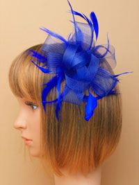 Fascinator / Grace - Royal blue looped net fascinor on comb