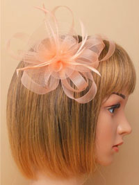 Fascinator / Natasha - Nude looped net fascinator.