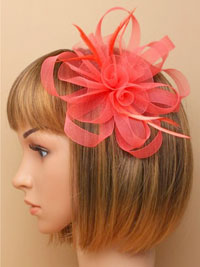 Fascinator / Coral looped net centre rosette. Natasha.