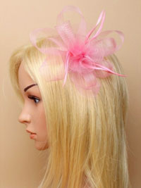 Fascinator / Natasha - Rose Pink looped net fascinator.