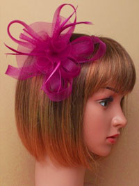 Fascinator / Natasha - Purple looped net fascinator.