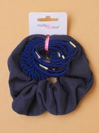 School set / Scrunchie and elastics in Navy