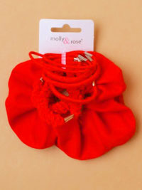 School set / Scrunchie and elastics in Red