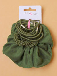 School set / Scrunchie and elastics in Green