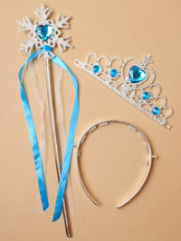 Set / Tiara - Wand.  Ice princess blue tiara & wand.
