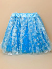 Tutu / Turquoise blue net skirt with glitter snowflakes.