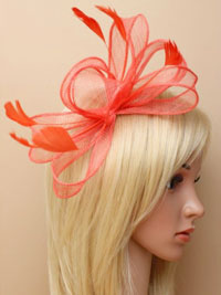 Fascinator / Camille - Coral Sinamay and feater fascinator