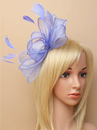 Fascinator / Camille - Blue Sinamay and feather fascinator