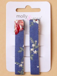 Clips / Pair of floral fabric covered 6cm crocodile clips.