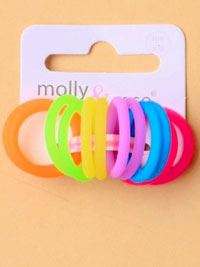Elastics / Card of 12 small 2mm coloured silicone elastics.
