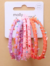 Elastics / Card of 6 Raggy pastel endless elastics.