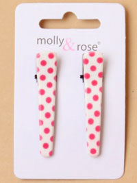 Clips / Pair of 4.5cm polka dot beak clips.