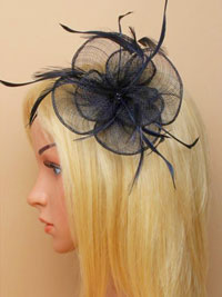 Fascinator / Sophia - Black circular fascinator.