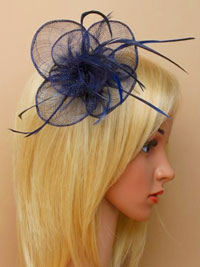 Fascinator / Sophia - Navy circular sinamay fascinator