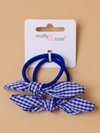 Elastics / Pair of elastics with gingham fabric bow.