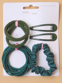 School Set / Green - sleepies,elastics,scrunchie,
